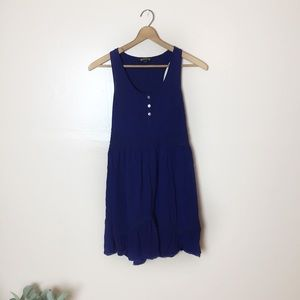 [Express] Blue Sleeveless Crochet Tunic Top